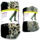 Ladies Womens Wellington Boot Fleece Welly Socks Liners Festival Animal Fur