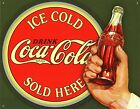 New Coca Cola Ice Cold Bullseye Coke Metal Tin Sign