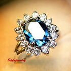 White Gold Plated Oval Blue Sapphire Women Ring Made With Swarovski Crystal R93