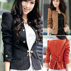 Womens Ladies Puff Sleeve Double Breasted Bow Short Blazer Suit Coat Jacket Top