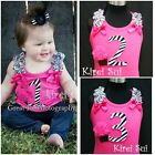 Baby Girls Zebra 1st 2nd 3rd Hot Pink Tank Tops Rosette Cupcake Birthday Party