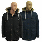 Mens Brave Soul Fur Trim Quilted Taslan Hoodie Hooded Padded Parka Jacket Coat