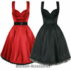 RKH13 Hearts & Roses Satin Prom Rockabilly Dress 50's Bridesmaid Vintage Swing