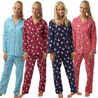 Ladies Womens Pjs Pyjama Set Heart Flannel Warm Pyjamas Button Up Rabbit Cotton