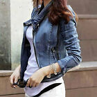 Womens Ladies Vintage Slim Denim Jean Lapel Zipped Coat Biker Jacket Tops