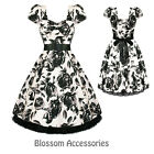 RKH26 Hearts & Roses Retro Floral Rockabilly Dress 50's Evening Vintage Swing