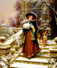 A WINTER ROSE BEAUTIFUL YOUNG WOMAN DOG SNOW PAINTING BY SYDNEY KENDRICK REPRO