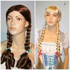 Fairytale Country School Girl Blonde Brown Wig with Plaits Dorothy Alice