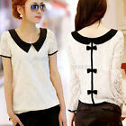 New Women Ladies Peter Pan Collar Bow Back Top Blouse Lace Chiffon Shirt