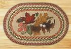 Autumn Leaf Leaves Oval Braided Placemat 100% Natural Jute Hand Printed Artwork