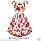 RKH41 Hearts & Roses Red Floral Rockabilly Formal Evening Dress 50s Retro Plus