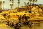 THE NUBIAN DESERT OASIS CAMEL ARAB WATER PAINTING BY FREDERICK BRIDGMAN REPRO