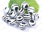 BLACK WHITE ZEBRA & STRIPE Acrylic Round BEADS - Choose 10MM 12MM 16MM 20MM 25MM