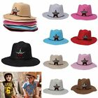Cute Kids Boys Girl Children Straw Star Western Cowboy Panama Summer Sun Hat Cap