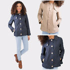 Hidden Fashion Womens Ladies Wooden Buttoned Storm Flap Collared Jackets/Coats