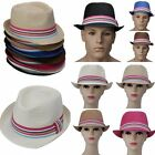 Colors Straw Hat Fedora Panama Trilby Crushable Summer Beach Sun Cap Mens Ladies