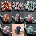 5mm Hole Crystal Rhinestone Silver Fingdings European Beads Fit Charm Bracelets