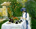 THE TERRECUITE TEA SET FRENCH TEA GARDEN 1910 PAINTING BY CHILDE HASSAM REPRO