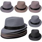 Swallow Gird Men's Fedora Sun Gangster Hat Cotton Summer Trilby Panama Jazz Cap