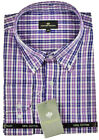 BIG MENS LONG SLEEVE COTTON CHECK SHIRT Lilac/Navy Size 2XL XXXL 3XL 4XL 5XL 6XL