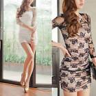 1 New Women Sexy Lace Long Sleeve Bodycon Dress See Through Nightclub Wear