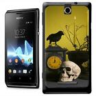 Creepy Halloween Table Decorations with Skull Crow Hard Case For Sony Xperia E