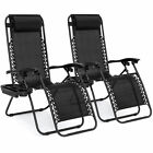 Zero Gravity Chairs Case Of (2) Black Lounge Patio Chairs Outdoor Yard Beach New