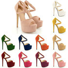 FASHION PEEP TOE STRAPPY PLATFORM FAUX SUEDE HIGH HEELS SANDAL SHOES UK SIZE 2-9