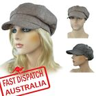 8 Panels Ladies Woman Newsboy Baker Boy Bakerboy Baseball Slouchy TWEED Hat Cap
