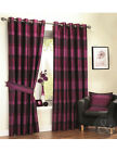 STRIPED FAUX SILK CURTAINS - Raspberry Purple & Cerise Pink Eyelet Lined Curtain