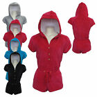 WOMENS COMFY LADIES GIRLS CASUAL VELOUR HOODED SHORT ONESIE PLAYSUIT ALL IN ONE