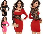Sexy Womens Party Cocktail Bodycon Mini Dress Lace Sexy Club Wear Long Sleeve