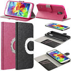 Diamond Rhinestone Bling Wallet Card Slot Case Cover Stand for Samsung Galaxy S5