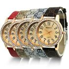 Lady Women Fashion Luxury Gold Crystal Quartz Rhinestone Leather Wrist Watch