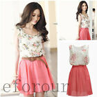 Fashion New Womens' Sexy Girls Sleeves Summer Chiffon Short Dress Sundress Skirt