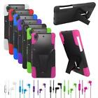 Phone Case For Sony Z1s Z2 Silicone Corner Hard Cover Stand + Stereo Headset