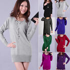 Ladies Womens Crew Neck Long Sleeve Bodycon Slim Knitwear Mini Dress Sweater