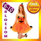 G55 Ladies Pumpkin Princess Fancy Dress Party Halloween Costume Outfit + Gloves