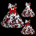 w883 y7 UkG Red Grey White Bow Birthday X'mas Party Flower Girls Dress 2,3,4-12y