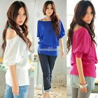 New Womens Girl Sexy Cotton Off-shoulder Loose Tops Casual T-Shirt Blouse SH