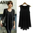 New Korean Fashion Womens Chiffon Tops Sleeveless Shirt Casual Blouse Vest
