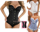 Sexy Women Boned Lace up Back Satin Boned 3color S - 6XL Corset Bustier G-string