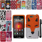 For Motorola Droid 4 XT894 DIAMOND BLING CRYSTAL HARD Case Phone Cover + Pen