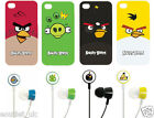 Angry Birds Hard Shell Case & Headphones iPhone 4 4S Red Green Yellow Black Pig