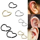 18g Steel Heart Fake Nose Lip Captive Hoop Ring Clip-on Helix Cartilage Earrings