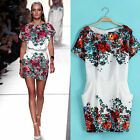 Fashion Womens Vintage Round Neck Short Sleeve Floral Pattern Slim Chiffon Dress