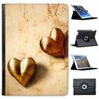 Rustic Vintage Gold Hearts Folio Wallet Leather Case For iPad Air & Air 2