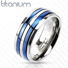 Solid Titanium Blue IP Double Striped Couple Men's Ring Band Size 5-14