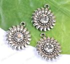 4pcs Tibetan Silver Crystal Sunflower Charms Pendants 24X20MM BE2052