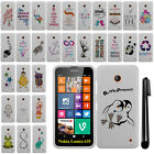 For Nokia Lumia 635 Cute Design PATTERN HARD Case Phone Cover Accessory + Pen